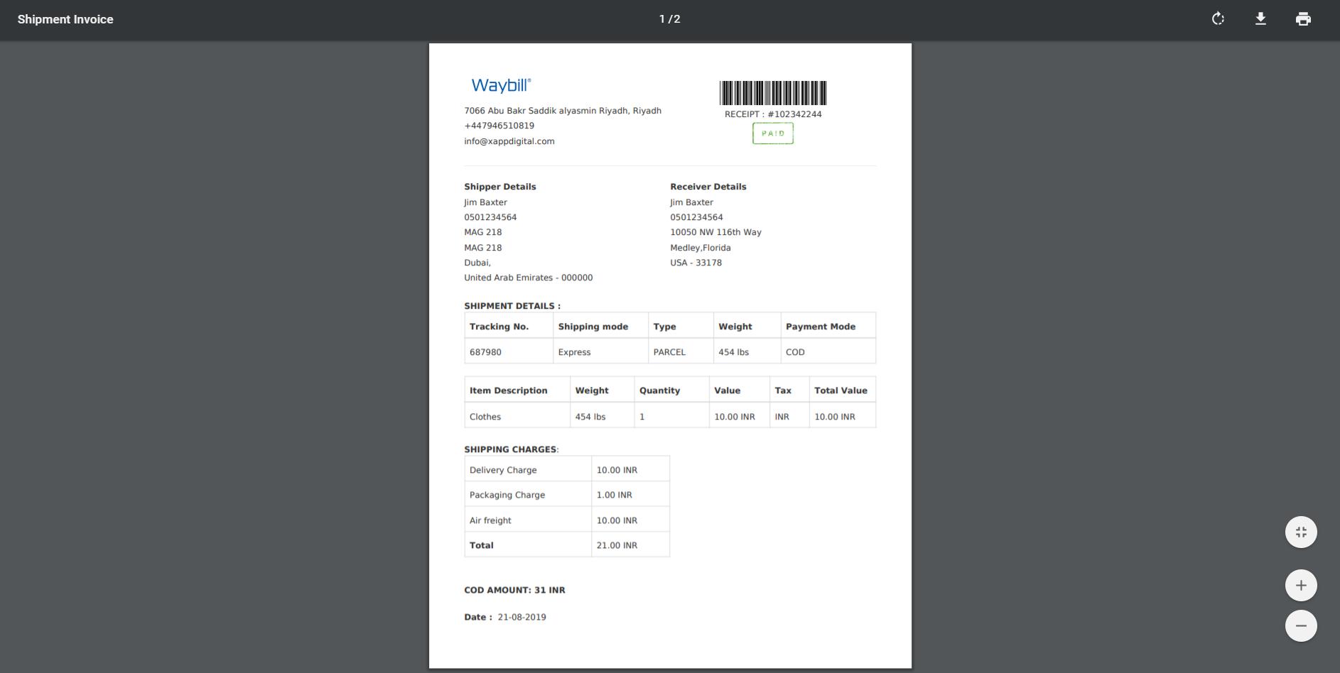 Shipment Invoice